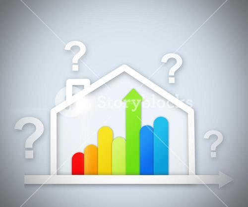 Question marks above energy efficient house graphic