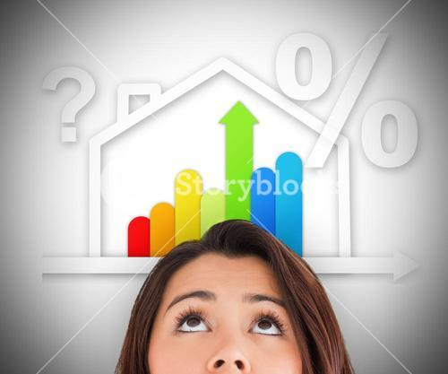 Woman looking up at energy efficient house graphic