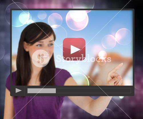 Woman touching screen with video