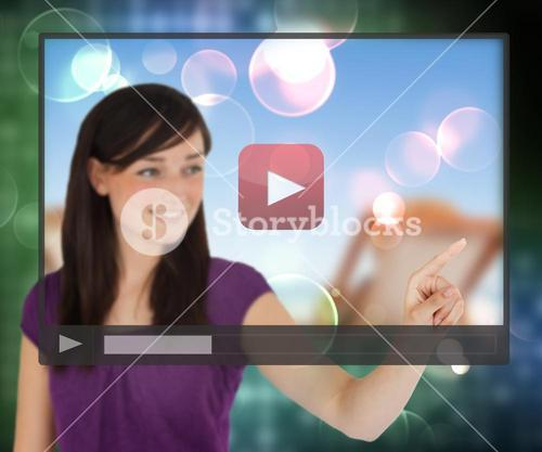 Woman using video on touch screen
