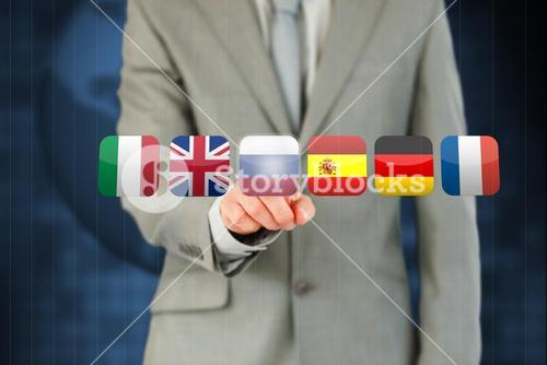 Businessman activating Russia flag on touchscreen
