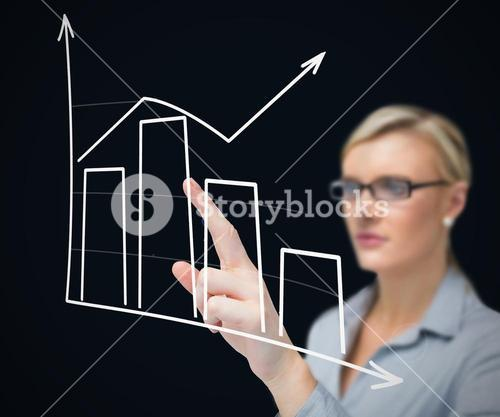 Businesswoman using graphical presentation