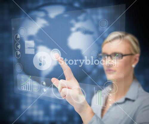 Businesswoman pointing touch screen