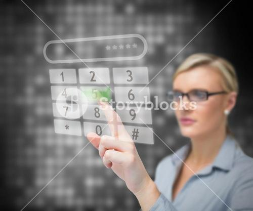 Businesswoman dialing number