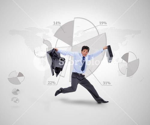 Businessman jumping against a graphical presentation