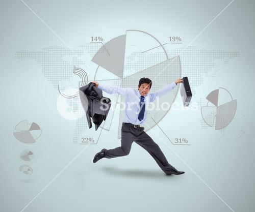 Businessman in suit jumping against graphical presentation