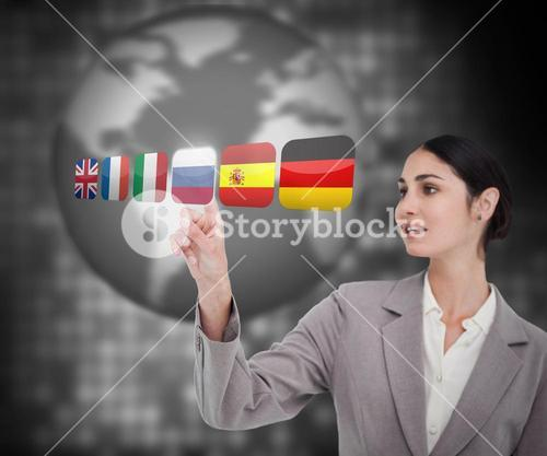 Woman in suit choosing Russian flag on touch screen