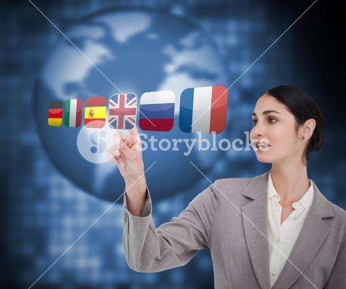 Businesswoman choosing flag of Great Britain