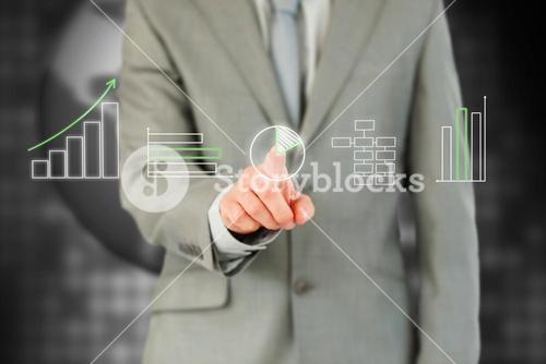Businessman working with touch screen