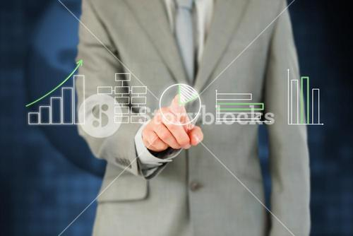 Businessmans finger working with touchscreen