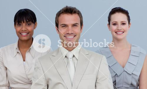 Business team standing in front of the camera