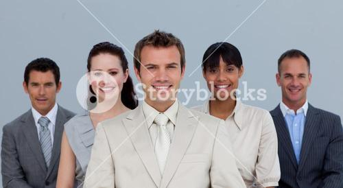 Happy business team smiling