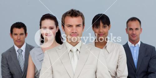 Confident business team in front of the camera