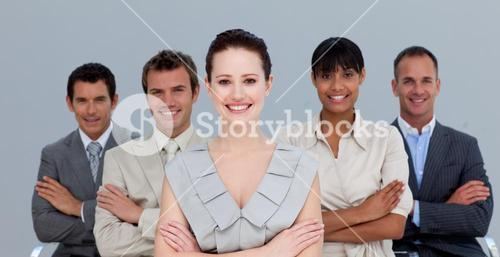 Business team with folded arms