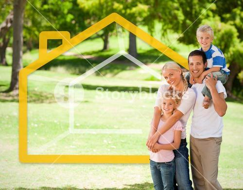 Happy family in the park with house illustration