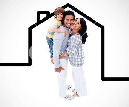 Happy family standing with a house illustration