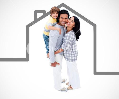 Happy family standing with a grey house illustration