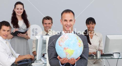Confident manager showing South America