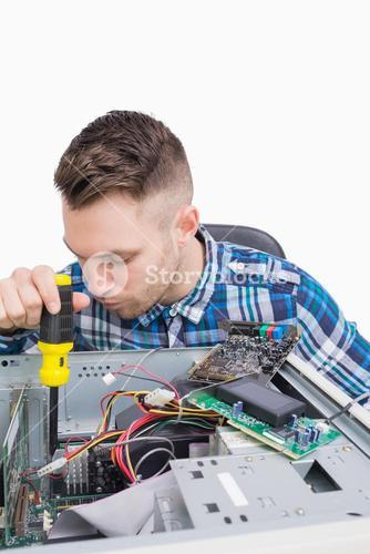 Computer engineer working on cpu