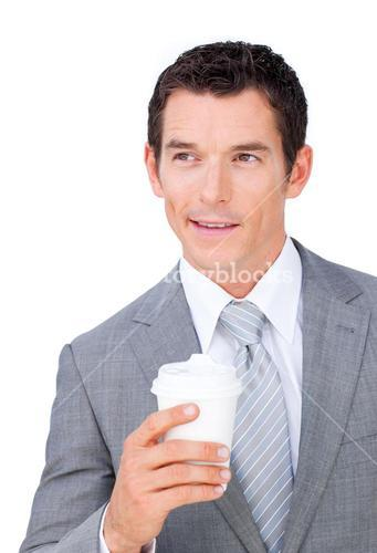 Assertive businessman holding a drinking cup