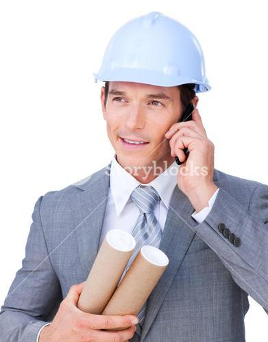 Attractive male architect on phone