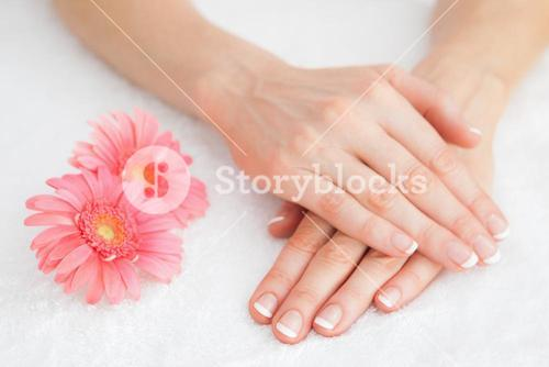 Flowers with french manicured fingers