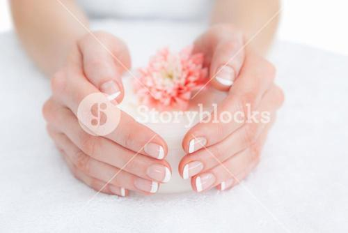 French manicured fingers and flower