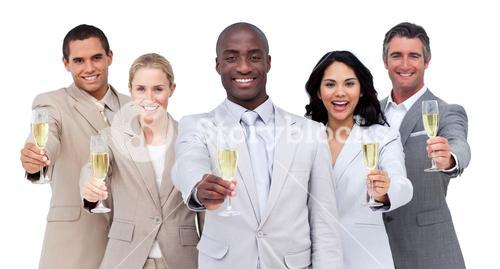 Relaxed business team celebrating an event