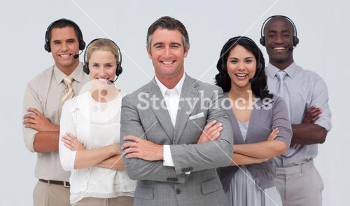 Team working in a call center