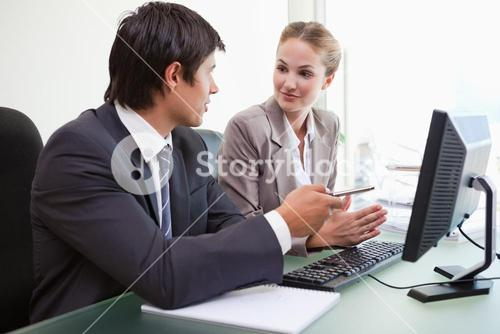 Two executives in meeting at office