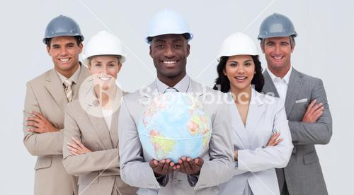 Architectural team holding a terrestrial globe