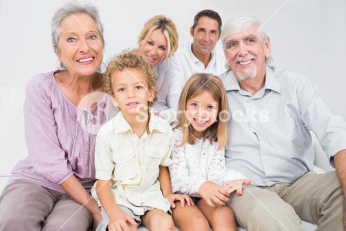 Smiling family posing for a picture