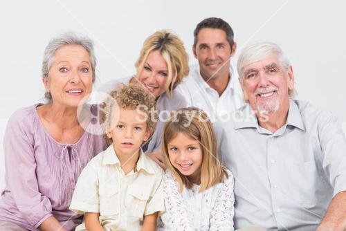 Familly sitting and posing