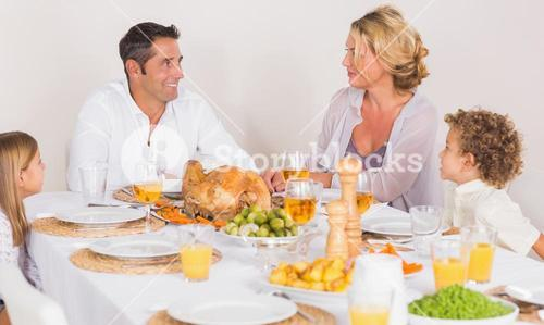 Family talking together before to eat