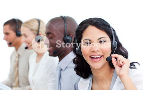 Portrait of a relaxed business people working