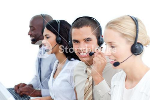 Diverse business team working in a office