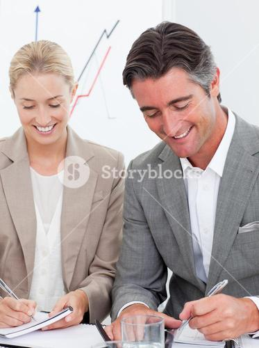 Cheerful business people writting notes in a meeting