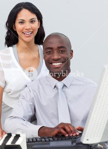Business team working at a computer