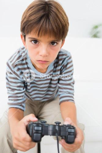 Boy playing video games