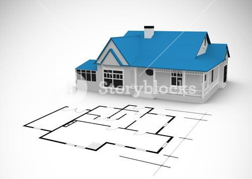 Blue house behind an architectural plan