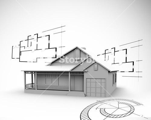 House in grey with architect plans