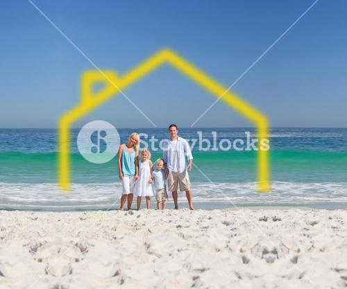 Standing family with drawing house