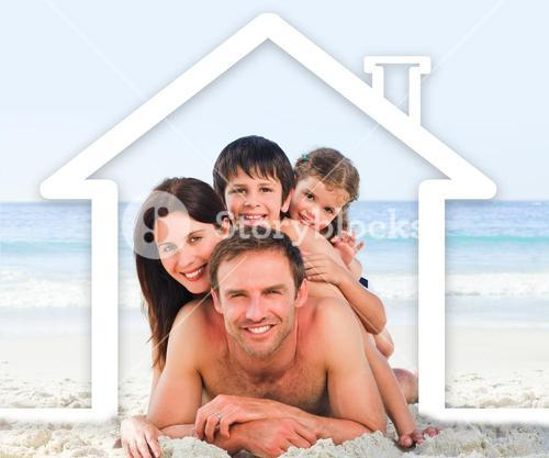 Family on the beach with a white house illustration
