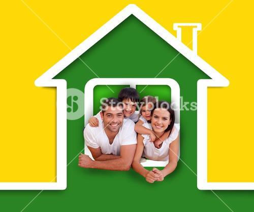 Happy family in the green house illustration