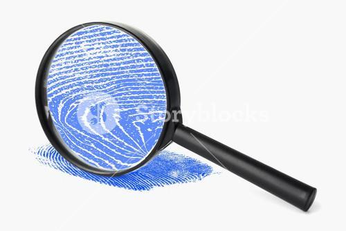 Magnifying glass with blue fingerprint