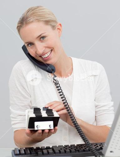 Businesswoman on phone and searching the index