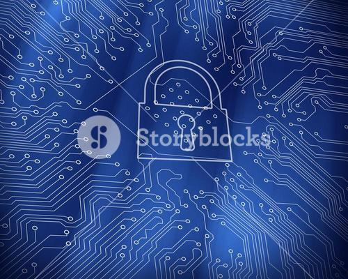 Digital lock on blue circuit board background