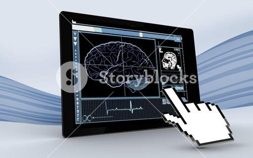 Cursor pointing to tablet showing brain interface