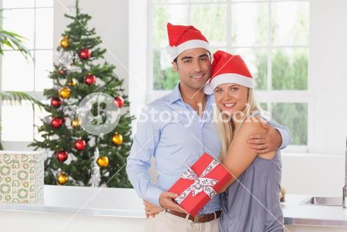 Happy couple at christmas