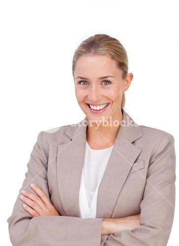 Radiant businesswoman with thumb up